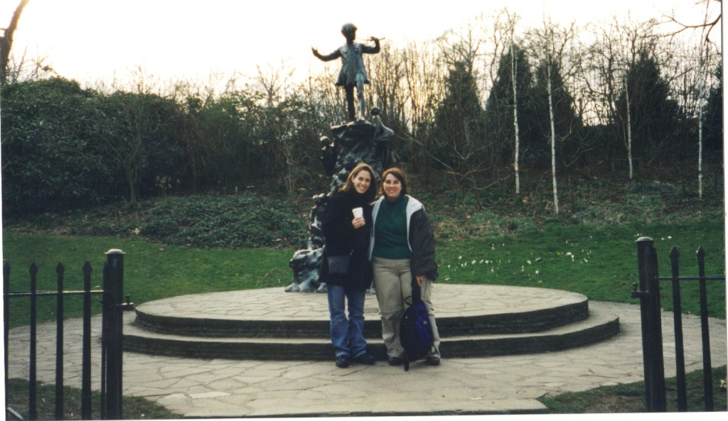 Cherie and me standing in front of Peter Pan's statue in Hyde Park