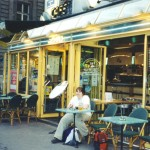 In front of one of the cafes in Paris