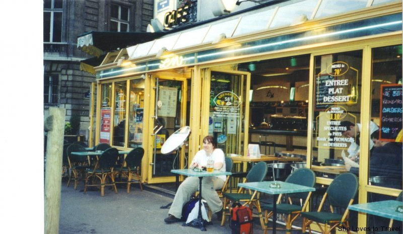 In front of one of the many cafes in Paris