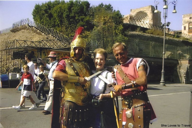 Mom with two of the 'guards' outside of the Colisseum in Rome