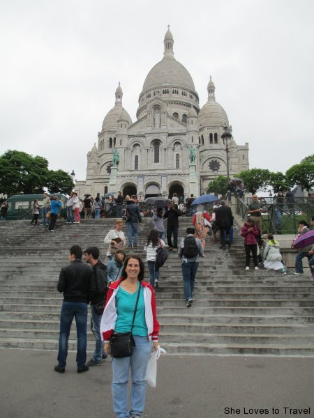 Standing outside the Sacré-Cœur