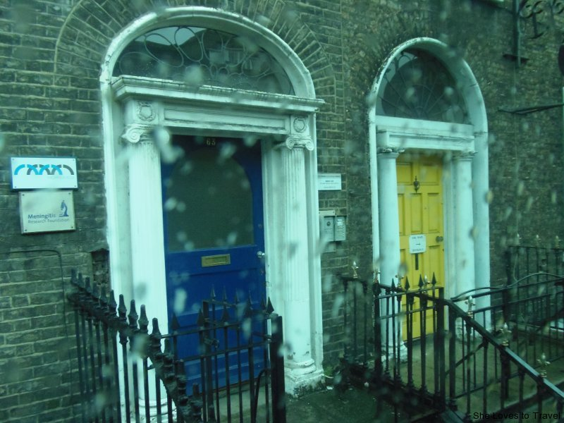 Seeing colored doors as we are leaving Dublin for Kilkenny and Wicklow