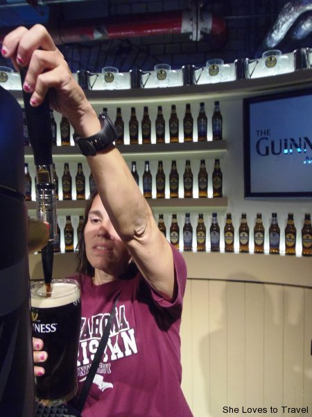 Learning how to pour a pint of Guinness